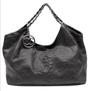 Chanel Lg Coco Cabas Distressed Caviar Leather Bag